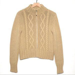 Benetton Tan Wool Blend Cable Knit Zip Cardigan